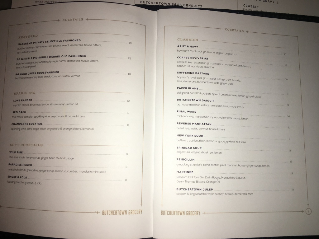 Butchertown Grocery cocktail menu